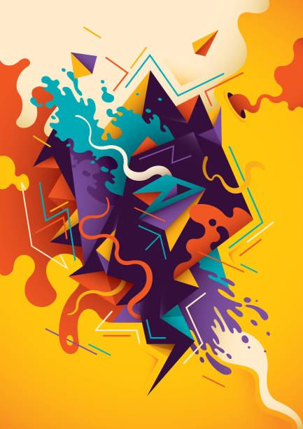 ilustraciones, imágenes clip art, dibujos animados e iconos de stock de ilustración artística con abstracto la composición. - fondos coloridos