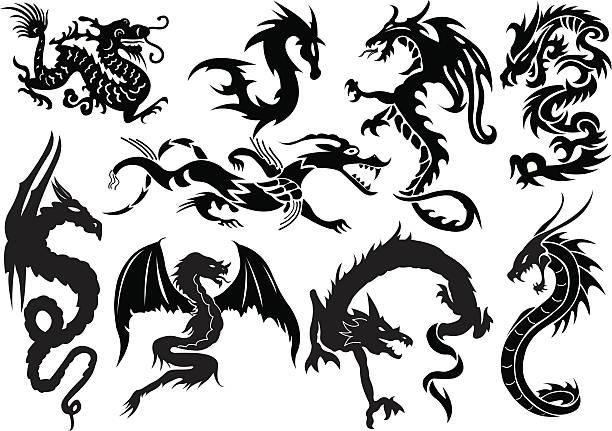 ドラゴン - 竜のタトゥー点のイラスト素材/クリップアート素材/マンガ素材/アイコン素材