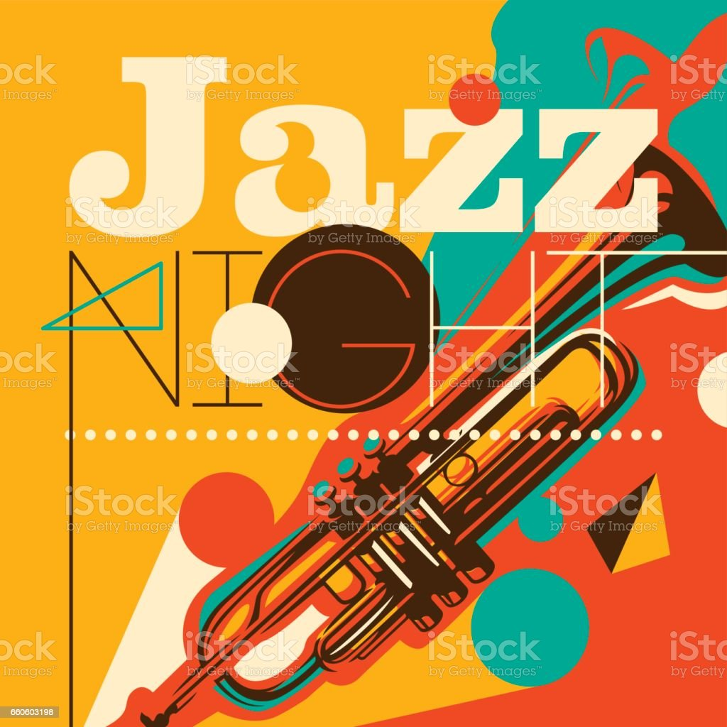 Artistic jazz night background in color. vector art illustration