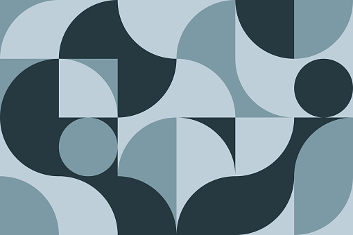 Artistic modern poster in Scandinavian style in blue colors. Geometric pattern for web banner, decor of pillows in the interior, business presentation, corporate identity. Vector graphics.