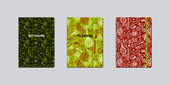 Artistic notebook covers design with hand-drawn graphic