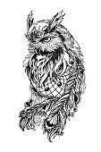Artistic owl with Dreamcatcher. Graphic arts, dotwork