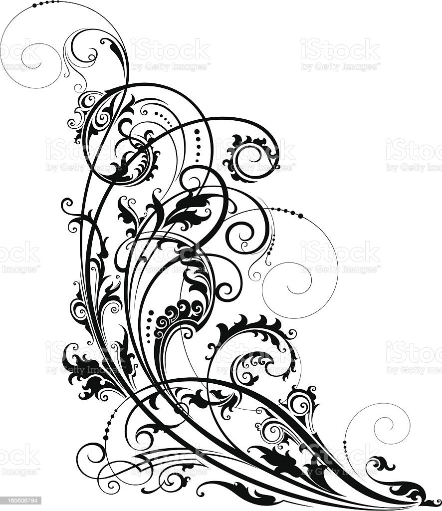 Artistic Scroll vector art illustration