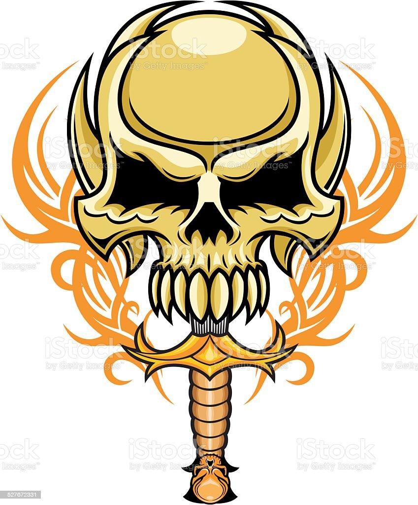 artistic skull vector art illustration