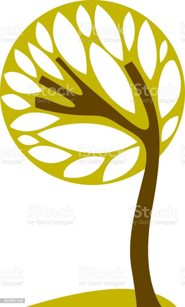 Artistic stylized natural symbol, creative tree illustration. Can be used as ecology and environmental conservation concept. vector art illustration