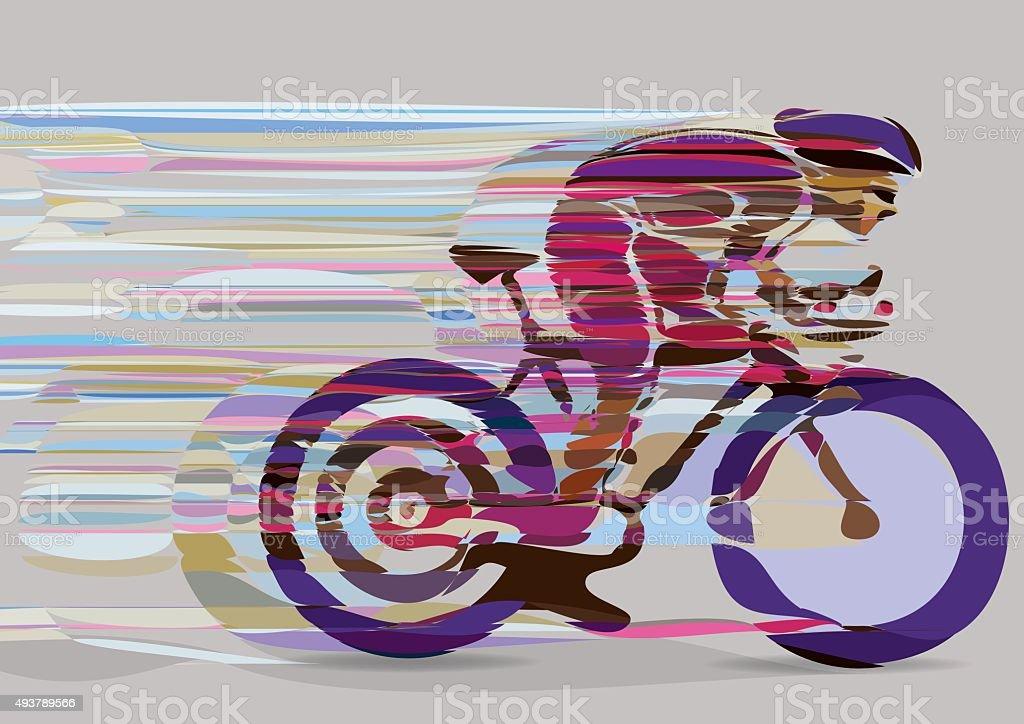 artistic stylized racing cyclist in motion. vector art illustration