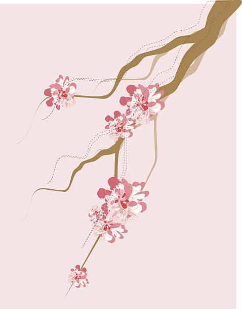 Artistic Tree Branch And Blossom vector art illustration