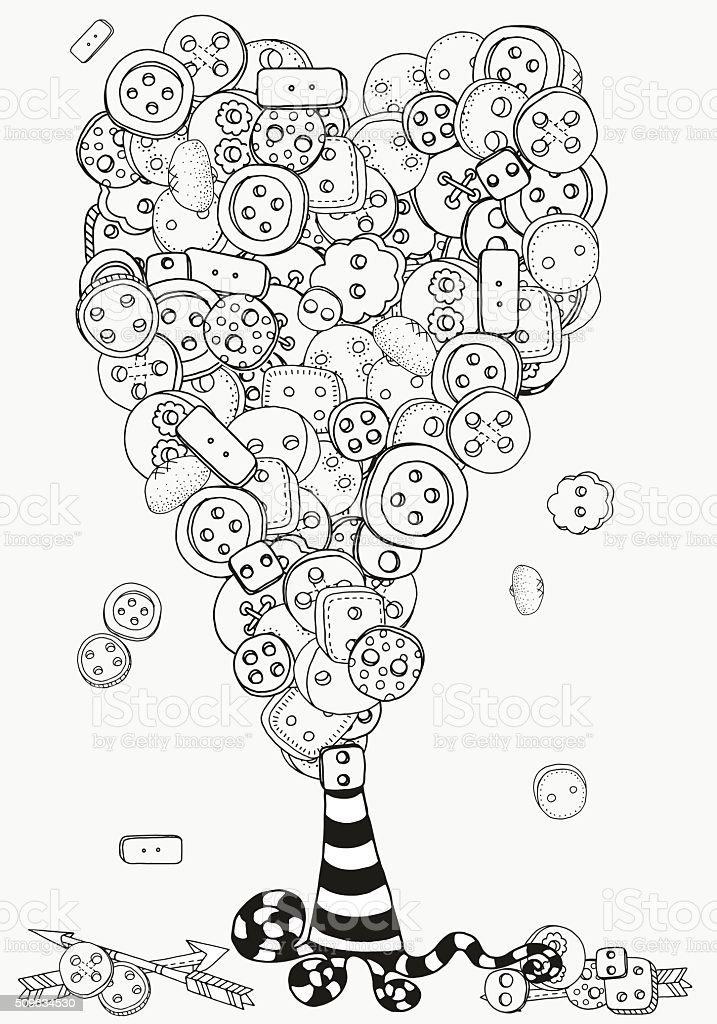 Ilustración de Artística árbol Con Ropa Botones Patrón Para Colorear ...