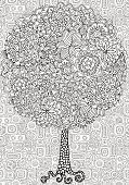 Artistic tree with floral ornaments