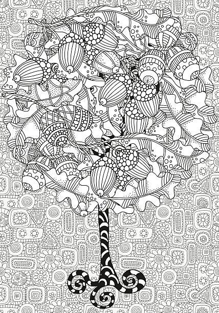 Artística árbol Con Bellotas Dibujados A Mano En Roble Y Hojas ...