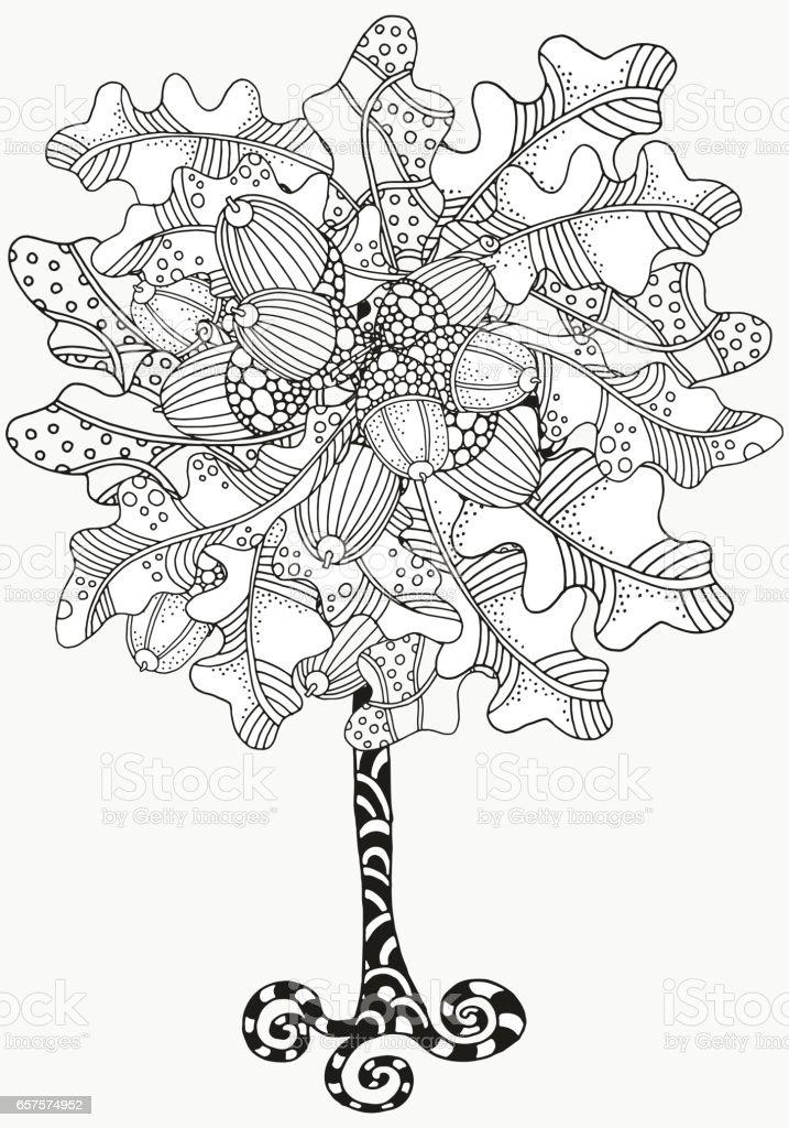 Ilustración de Árbol Artística Con Mano Alzada Bellotas Y Hojas De ...