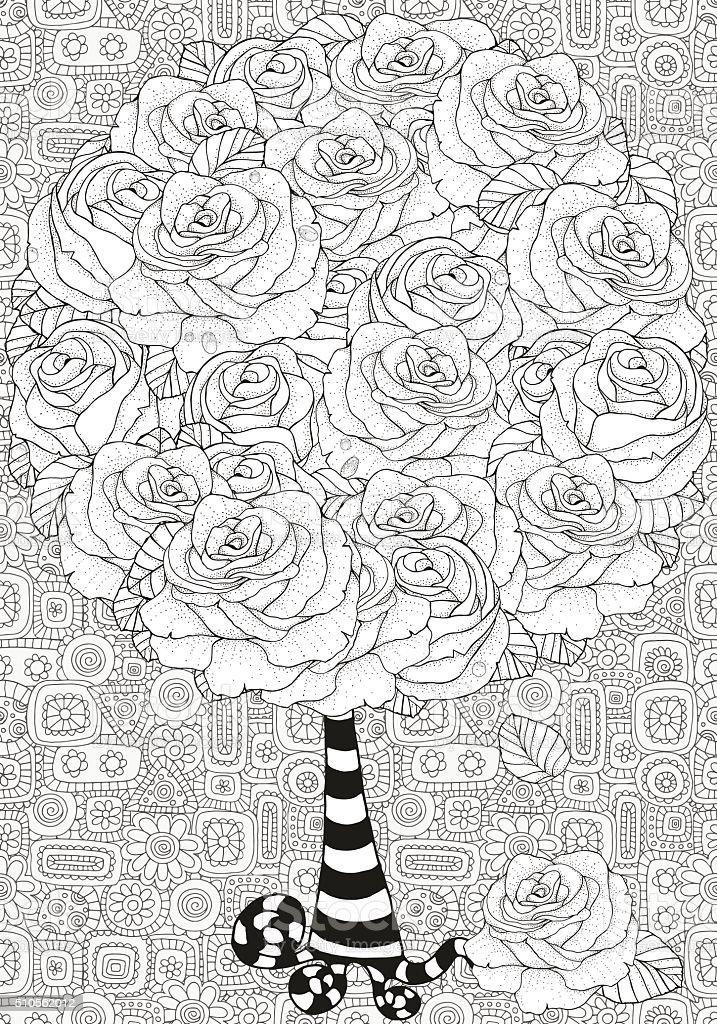 Ilustración de Artística árbol Con Rosas Patrón Para Colorear Libro ...
