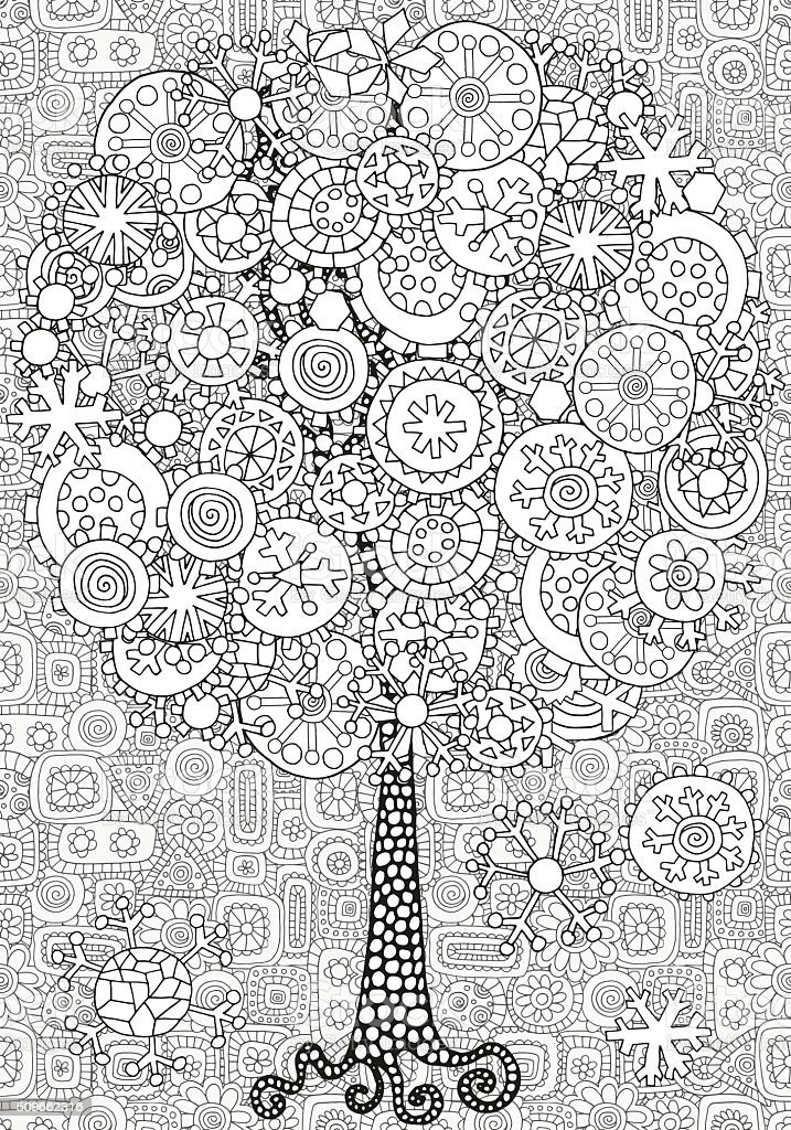 Artistic tree with winter Christmas snowflakes. vector art illustration