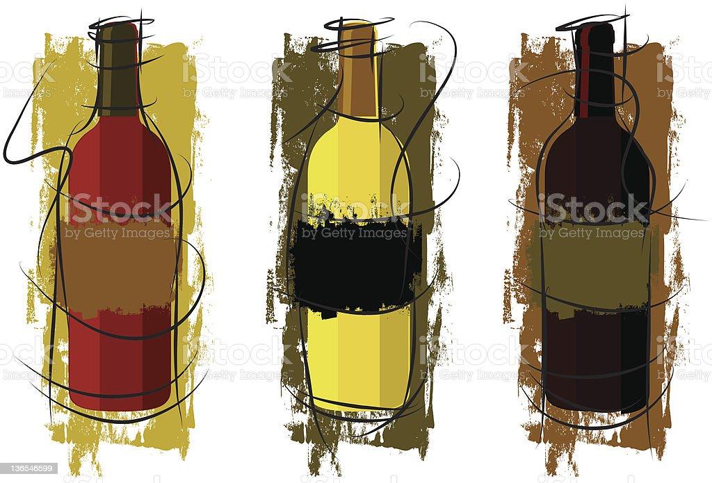 artistic wine bottles royalty-free stock vector art