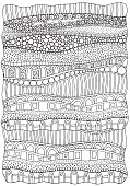Artistically ethnic abstract background. Hand-drawn, ethnic, floral, retro, vector, doodle design element. Adult coloring book page. A4.