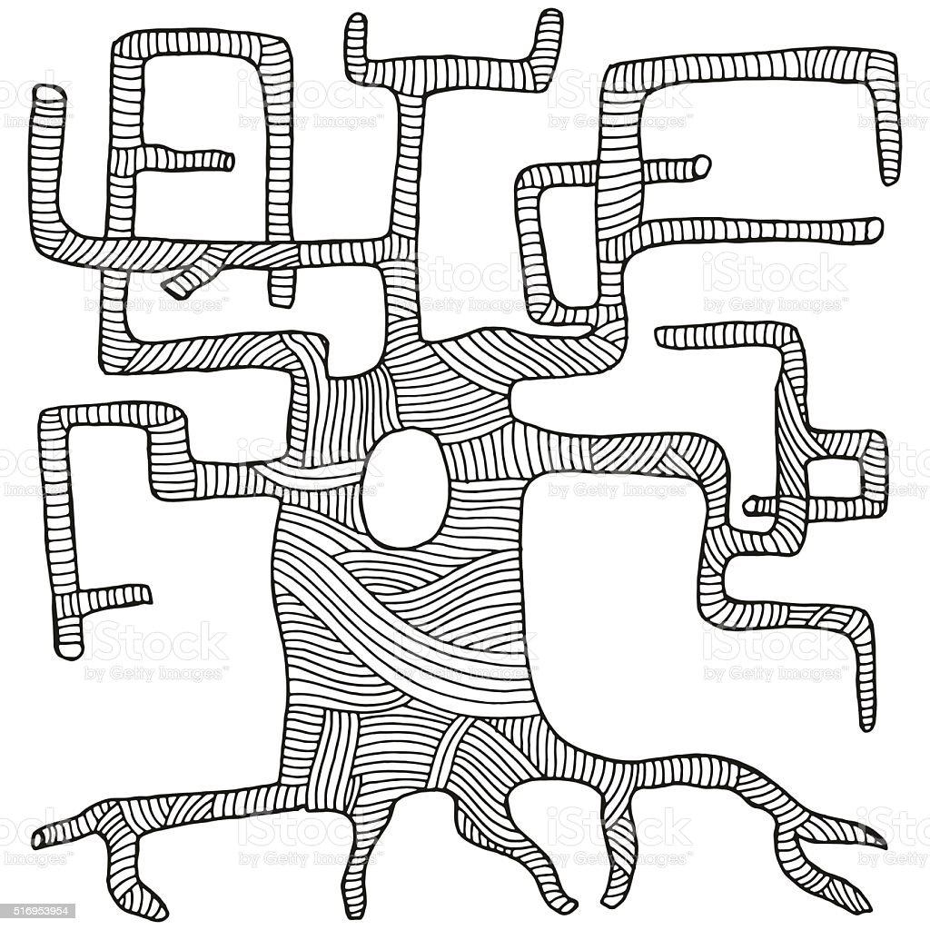 Ilustración de Árbol De Forma Artística Zen Arte Para Colorear Libro ...