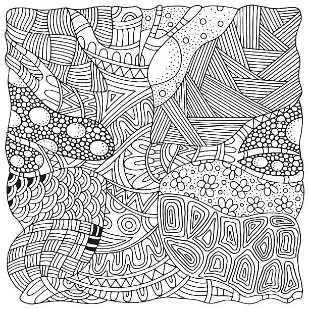 kunstvolle baum. zen kunst-muster. skizze von ablaufverfolgung. - landschaftstattoo stock-grafiken, -clipart, -cartoons und -symbole