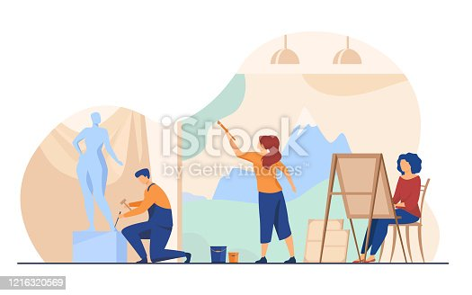 istock Artists creating artworks flat vector illustration 1216320569