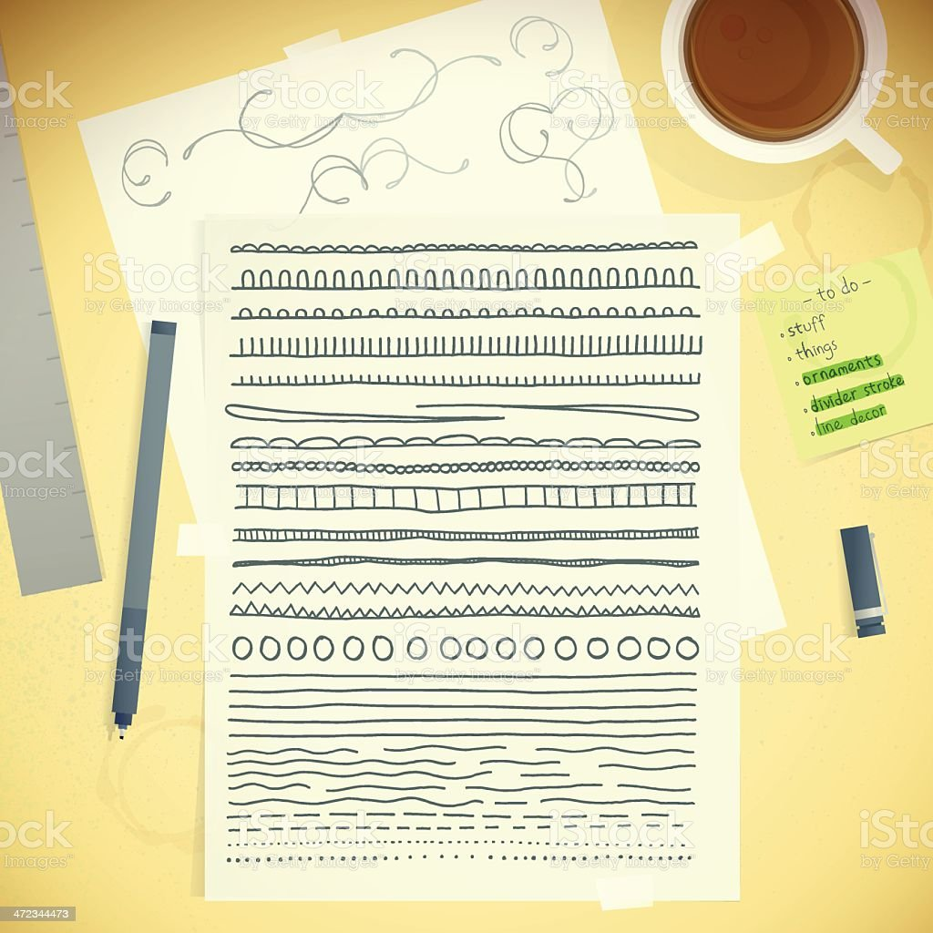 Artists Desktop Template Messy Table With Doodle Stroke Decoration royalty-free stock vector art