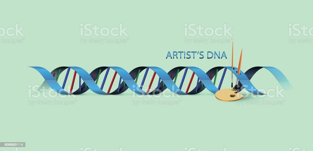 Artist's DNA Background with brushes vector art illustration