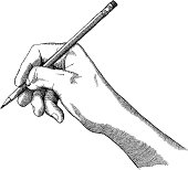 A hand holding a pencil in a detailed ink drawing - vector illustration