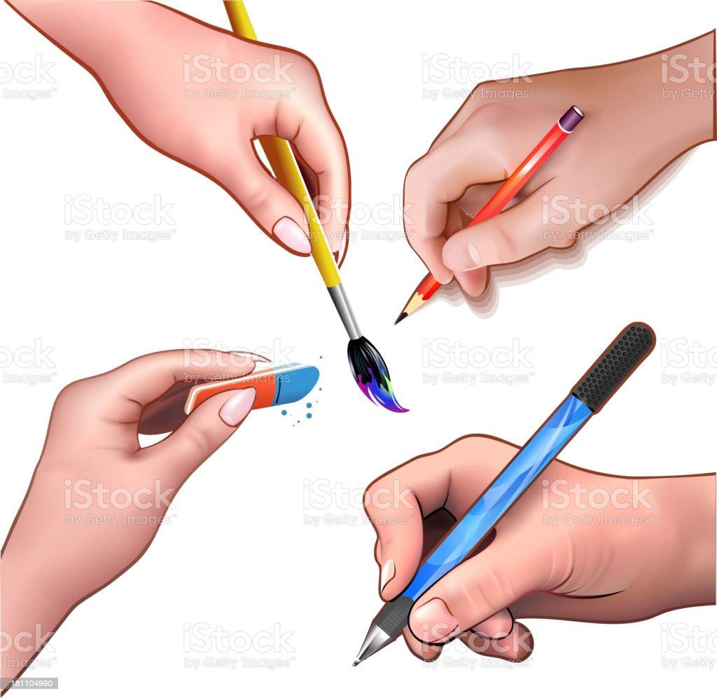 Artist's hands vector art illustration