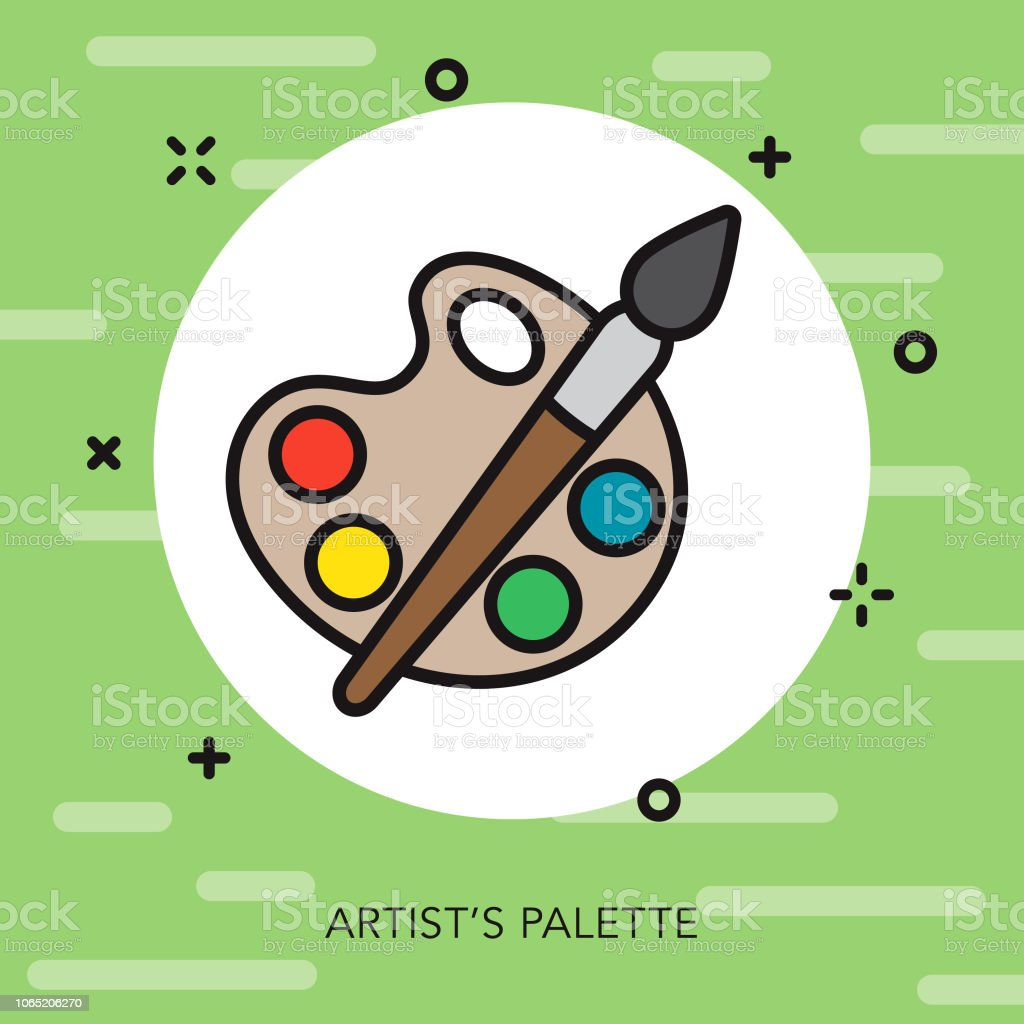Artist's Palette Thin Line Italy Icon vector art illustration