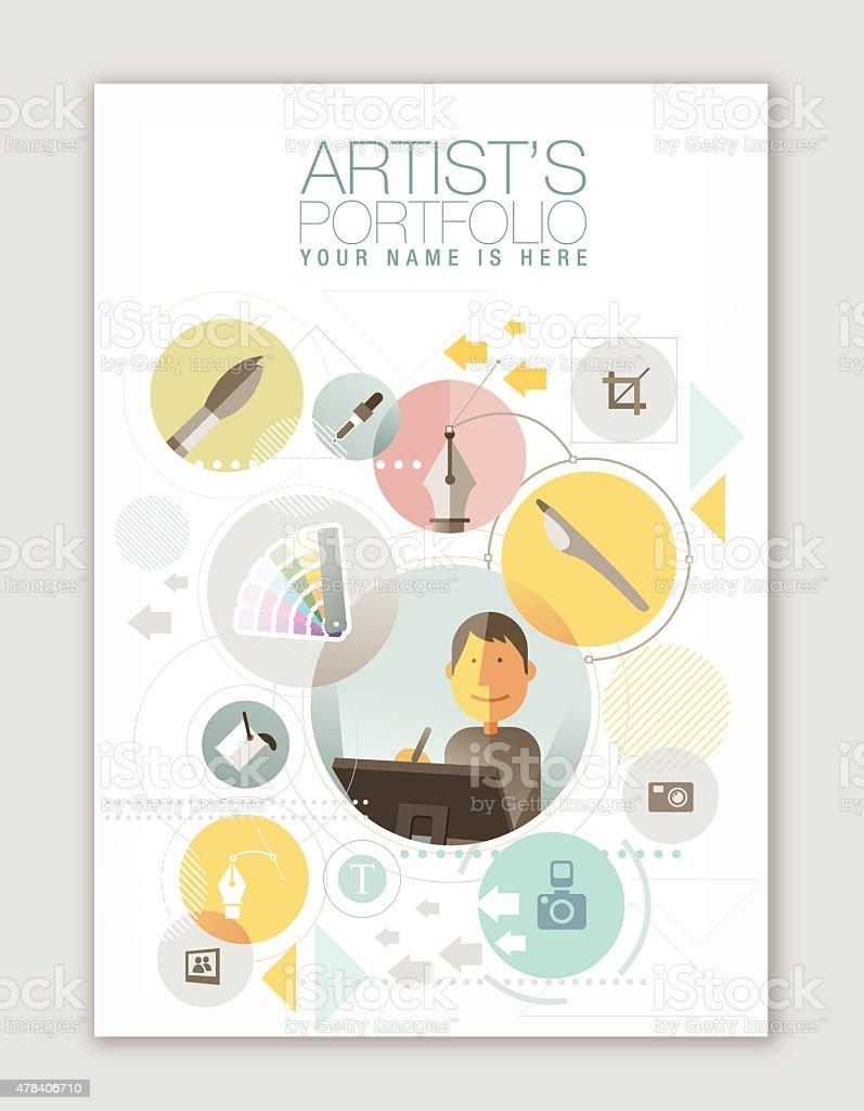 Artists Portfolio template vector art illustration
