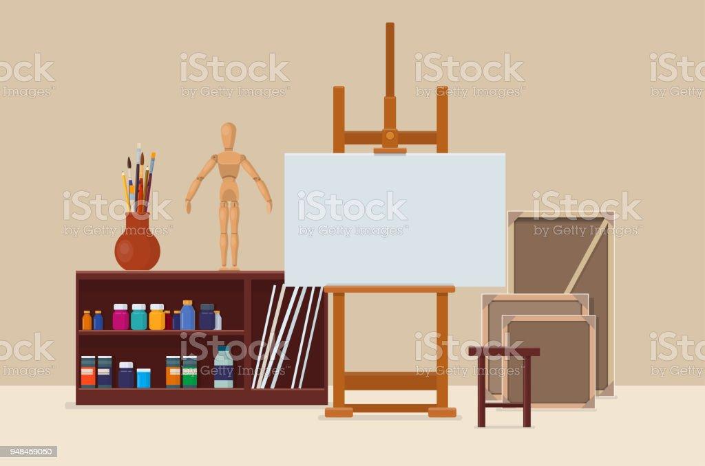 Atelier de l'artiste avec des outils artistiques, chevalet et toile - Illustration vectorielle