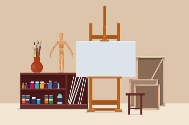künstlerwerkstatt mit künstlerischen werkzeuge, staffelei und leinwand - hausfarbpaletten stock-grafiken, -clipart, -cartoons und -symbole
