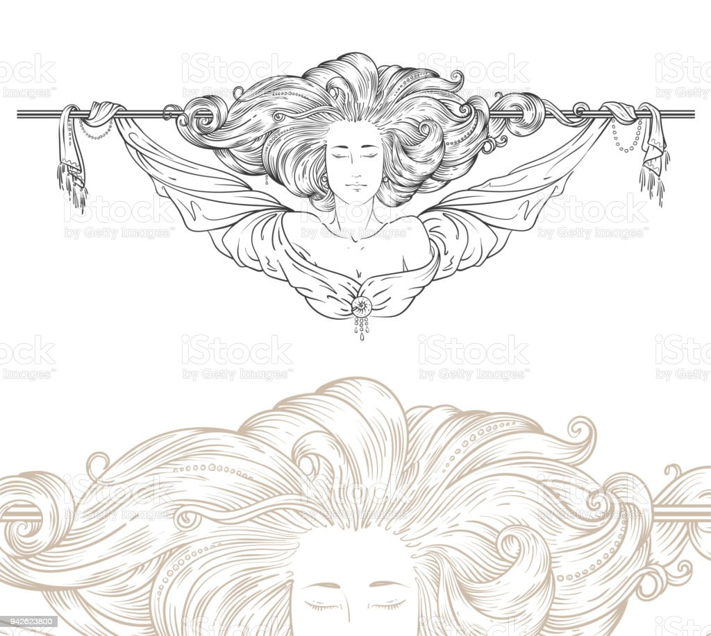 art-nouveau decorative divider vector art illustration