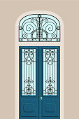 Art-nouveau door in vector