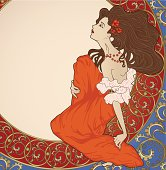 Art-nouveau lady sitting on floral frame