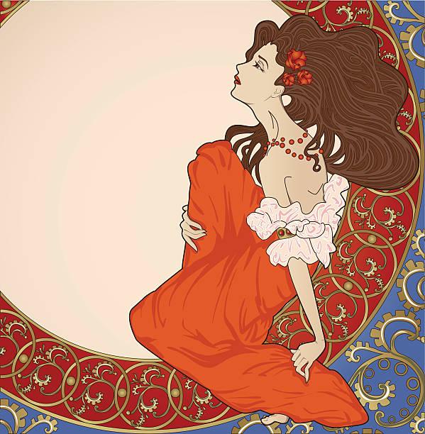 Art-nouveau lady sitting on floral frame vector art illustration