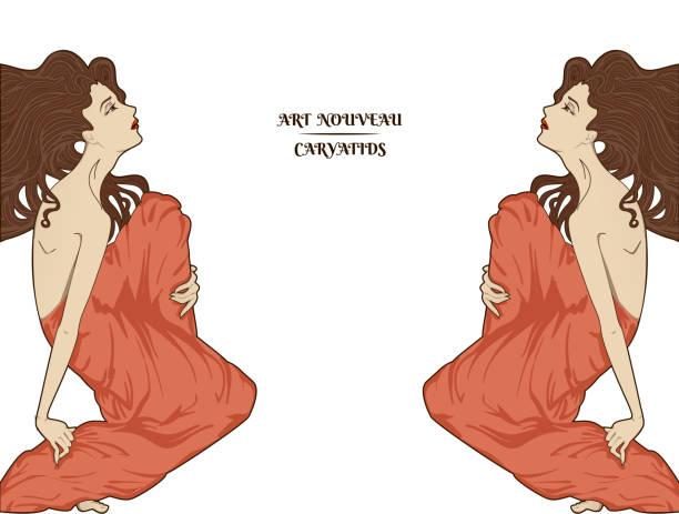 Art-nouveau women vector art illustration