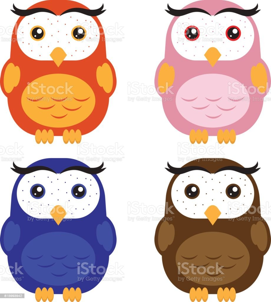 artoon color owls royalty free stock vector art