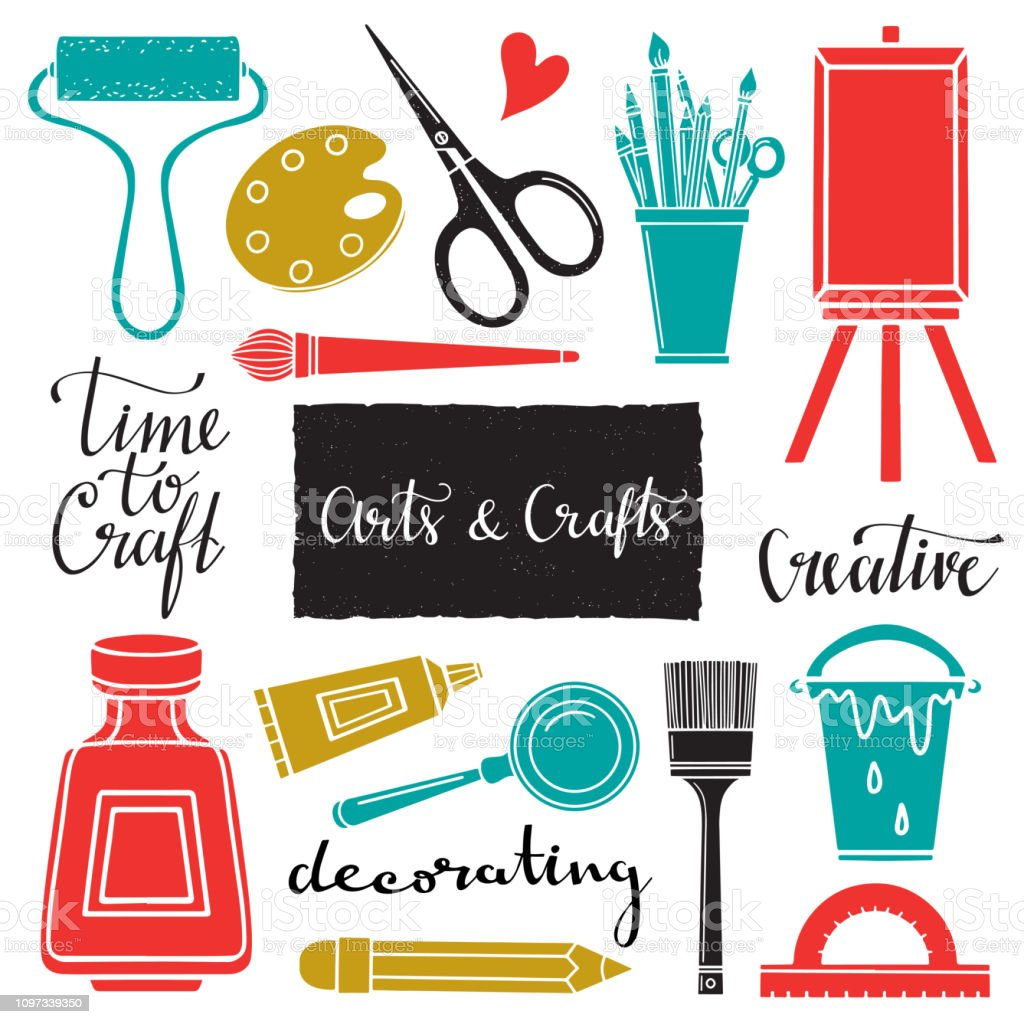 Arts And Crafts Hand Drawn Tools Stock Illustration Download Image Now Istock,Funeral Program Design