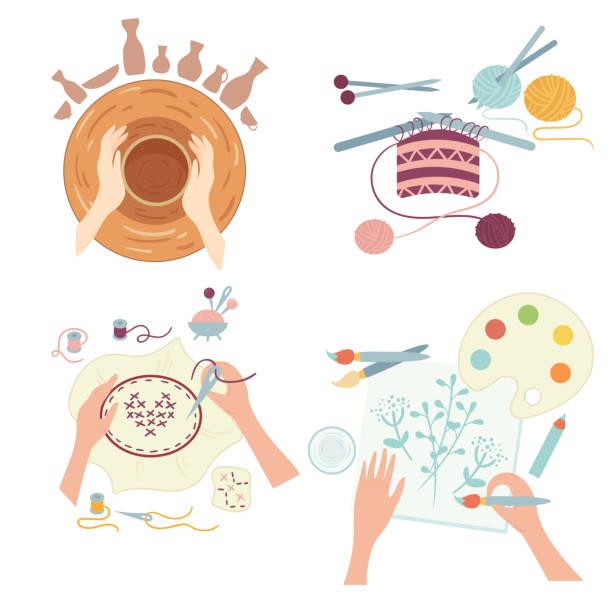 ilustraciones, imágenes clip art, dibujos animados e iconos de stock de artes y oficios. actividades de hobby. talleres - alfarería