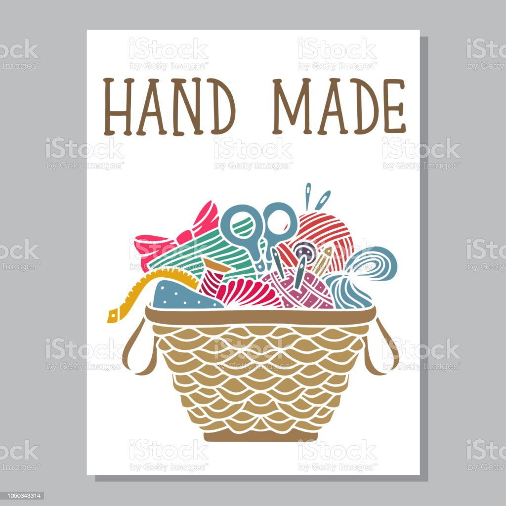 Arts and crafts sewing card. Basket with supplies, tools vector art illustration