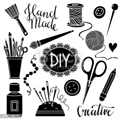 Arts and crafts sewing, painting hand drawn supplies, tools, design elements, icons, logo set isolated on white background