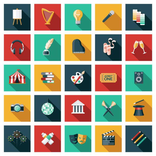 illustrazioni stock, clip art, cartoni animati e icone di tendenza di arts and culture icon set - arte, cultura e spettacolo