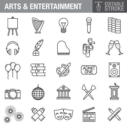 Arts and Entertainment Editable Stroke Icon Set