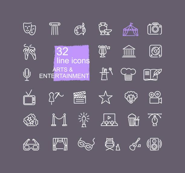 stockillustraties, clipart, cartoons en iconen met kunst en entertainment pictogramserie. - photography curtains