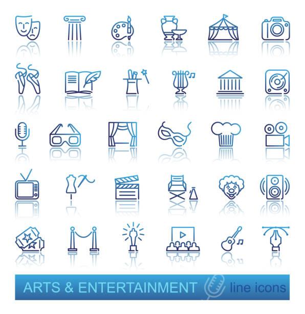 stockillustraties, clipart, cartoons en iconen met kunst en entertainment pictogramserie - photography curtains