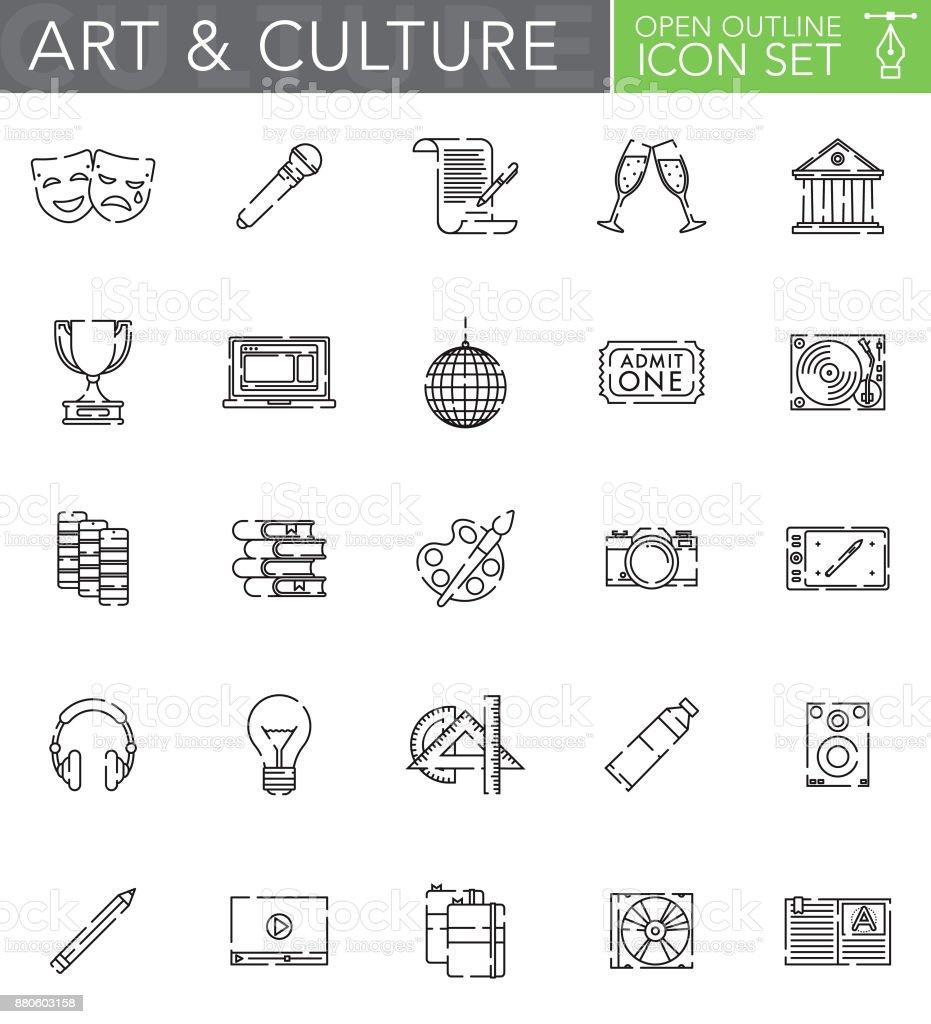 Kunst & Kultur offen Übersicht-Symbol inmitten einer flachen Design-Stil – Vektorgrafik