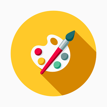 A colored flat design back to school supplies icon with a long side shadow. Color swatches are global so it's easy to edit and change the colors.
