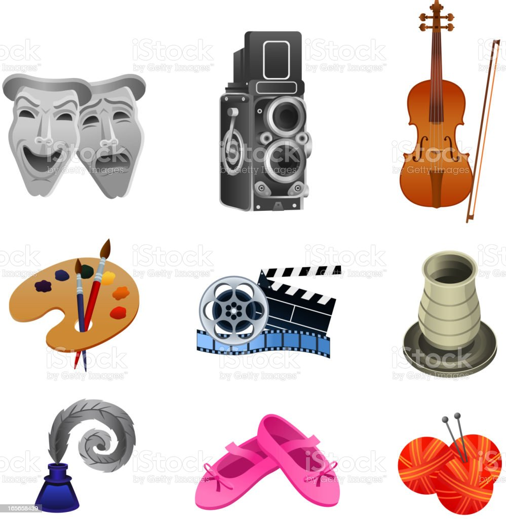 Arts icon collection Theater Concert Paint Movie Writer Dancer Knitting royalty-free stock vector art
