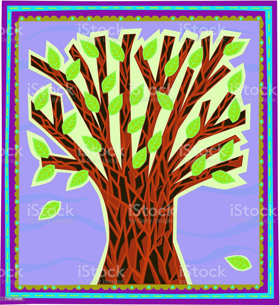 Artsy Bright Tree vector art illustration