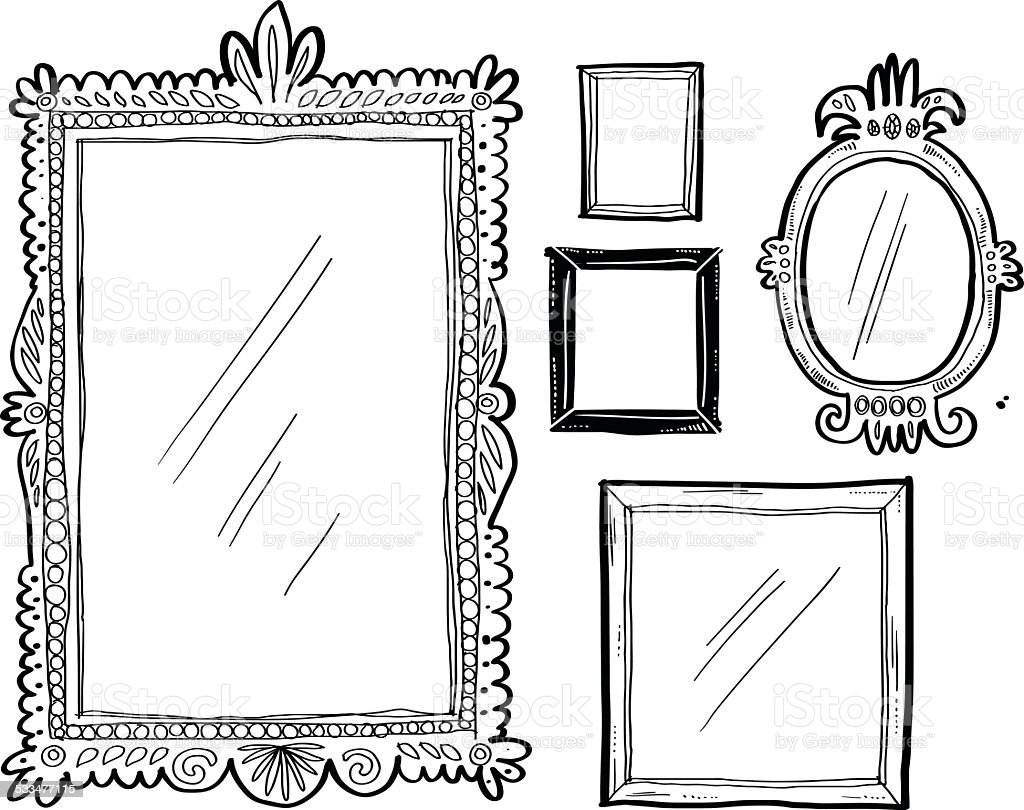 Artsy doodle frames vector art illustration