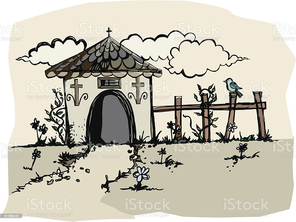 Artsy Little Chapel royalty-free stock vector art